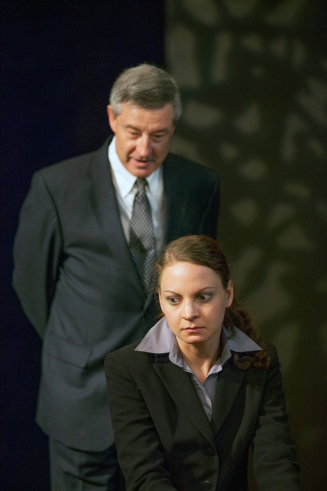 Mark Abels as Glover and Elizabeth Graveman as Mills