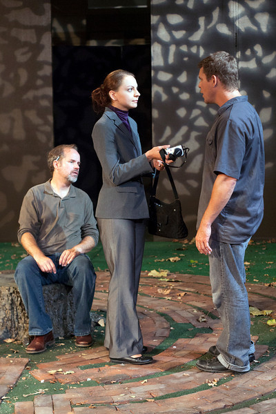 L-R: B. Weller as Nye, Elizabeth Graveman as Mills, Jeff Kargus as Tuck