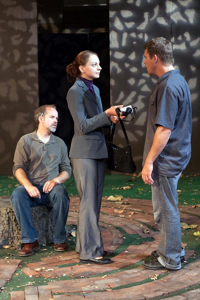 L-R: B. Weller as Nye, Elizabeth Graveman as Mills, Jeff Kargus as Tuck