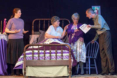 "L-R: Theresa Masters as Hannah Wilson-Tracey, Suzanne Greenwald as Mrs. Wilson, Liz Hopefl as Cissy Cassidy, Colin Nichols as Andy Tracey  in ""Losers"""