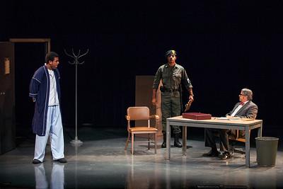 L-R: Reginald Pierre as D.J., Darrious Varner as Guard, Tom Kopp as Doctor