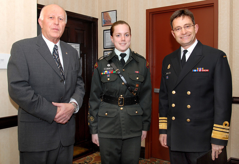 W. Foster, Julie LeBlanc, 2013 Top Army Cadet in Canada (Cadette par Excellence du Canada 2013) past VCDS, Vice Admiral Bruce Donaldson