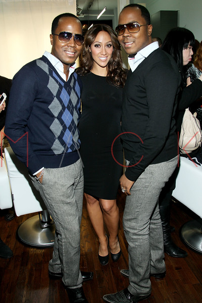 New York, NY - February 07: Antoine Von Boozier Melissa Gorga and Andre Von Boozier at the Grand Opening of Lasio Salon hosted by Melissa Gorga at Lasio Salon on Thursday, February 7, 2013 in New York, NY.  (Photo by Steve Mack/S.D. Mack Pictures)