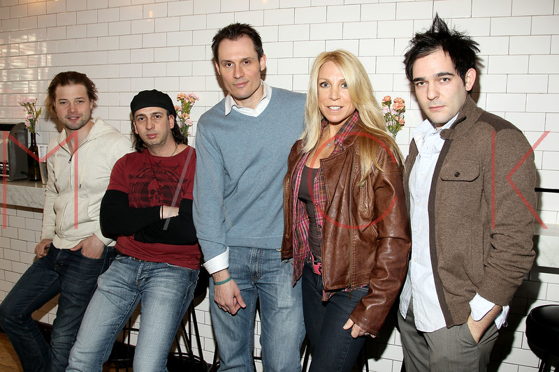 """New York, NY - February 25: Brandon Ruckdashel, Joseph Pepitone, Keith Collins, Cindy Fox and Matthew-Lee  Erlbach at """"Gravedigger""""  Movie filming on location at Whitmans Restaurant on Monday, February 25, 2013 in New York, NY.  (Photo by Steve Mack/S.D. Mack Pictures)"""