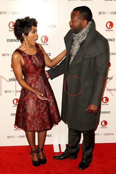 "NEW YORK, NY - JANUARY 28:  Angela Bassett and Malik Yoba attend the ""Betty & Coretta"" premiere at Tribeca Cinemas on January 28, 2013 in New York City.  (Photo by Steve Mack/S.D. Mack Pictures)"
