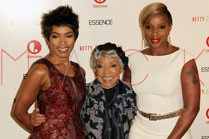 """NEW YORK, NY - JANUARY 28:  Angela Bassett, Ruby Dee and Mary J. Blige attend the """"Betty & Coretta"""" premiere at Tribeca Cinemas on January 28, 2013 in New York City.  (Photo by Steve Mack/S.D. Mack Pictures)"""
