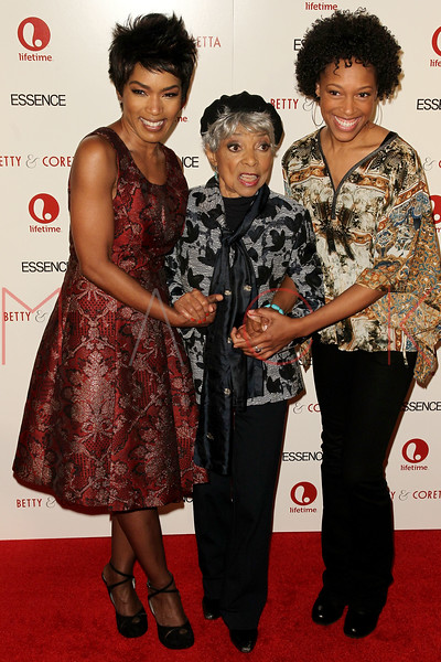 "NEW YORK, NY - JANUARY 28:  Angela Bassett, Ruby Dee and Cherise Booth attend the ""Betty & Coretta"" premiere at Tribeca Cinemas on January 28, 2013 in New York City.  (Photo by Steve Mack/S.D. Mack Pictures)"