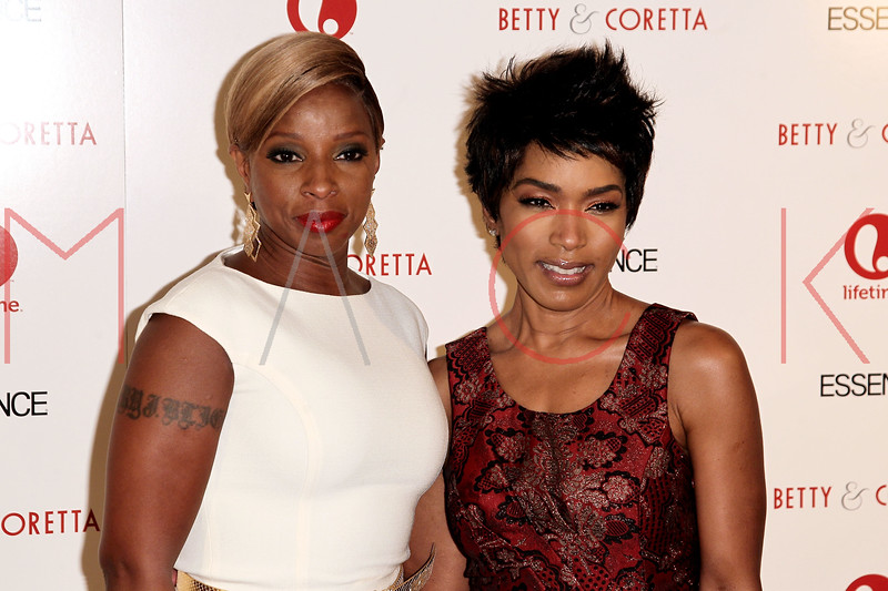 "NEW YORK, NY - JANUARY 28:  Mary J. Blige and Angela Bassett attend the ""Betty & Coretta"" premiere at Tribeca Cinemas on January 28, 2013 in New York City.  (Photo by Steve Mack/S.D. Mack Pictures)"