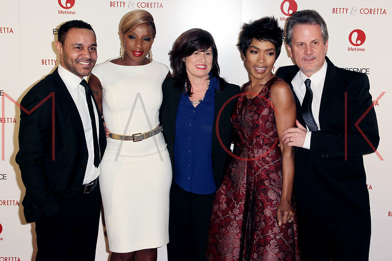 "NEW YORK, NY - JANUARY 28:  Lindsay Owen Pierre, Mary J. Blige, Nancy Sanitsky, Angela Bassett and Larry Sanitsky attend the ""Betty & Coretta"" premiere at Tribeca Cinemas on January 28, 2013 in New York City.  (Photo by Steve Mack/S.D. Mack Pictures)"