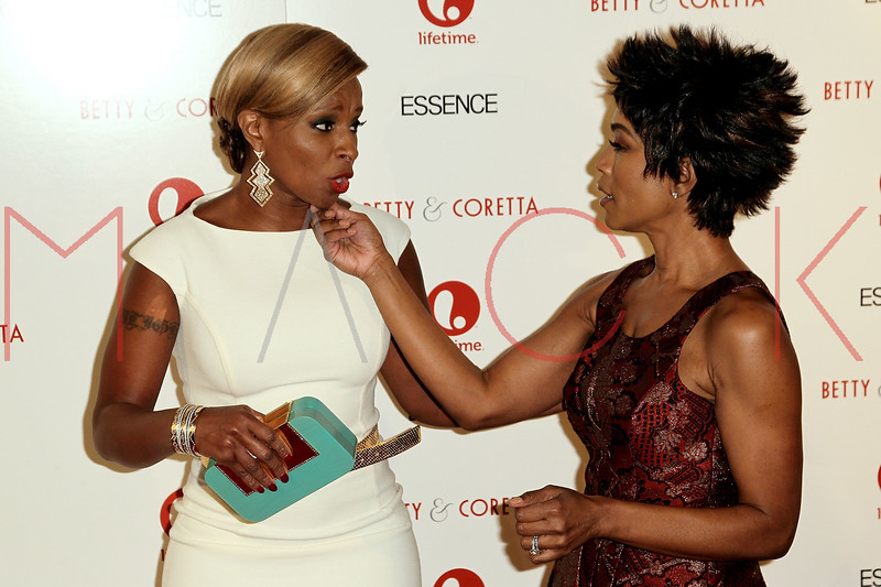 """NEW YORK, NY - JANUARY 28:  Mary J. Blige and Angela Bassett attend the """"Betty & Coretta"""" premiere at Tribeca Cinemas on January 28, 2013 in New York City.  (Photo by Steve Mack/S.D. Mack Pictures)"""