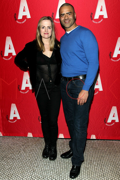 "NEW YORK, NY - JANUARY 22:  Keira Naughton and Christopher Jackson attend the ""The Jammer"" Opening Night after party at Jake's Saloon on January 22, 2013 in New York City.  (Photo by Steve Mack/S.D. Mack Pictures)"