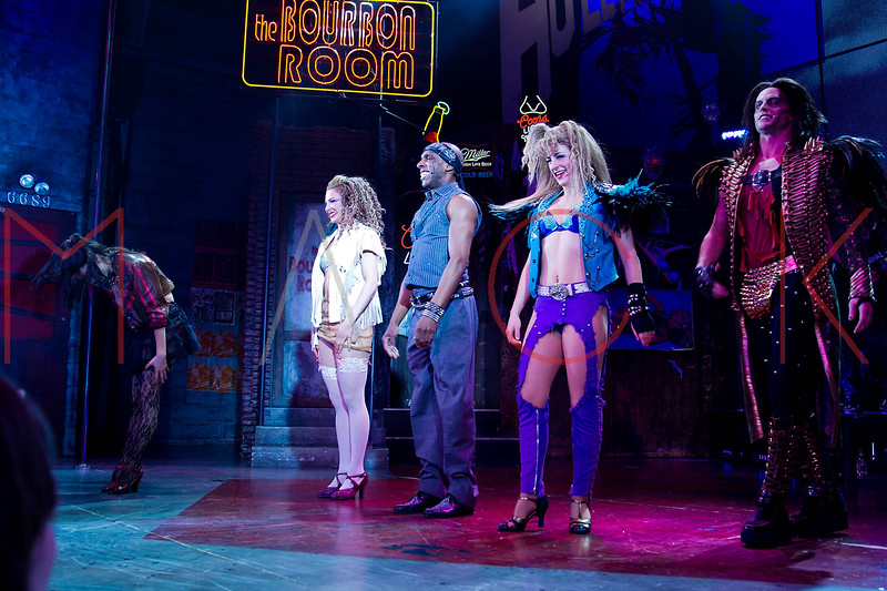 "NEW YORK, NY - MARCH 05:  Cast members attend the curtain call as ""Rock Of Ages"" Celebrates Breaking Into The Top 50 Longest Running Broadway Shows at the Helen Hayes Theatre on March 5, 2013 in New York City.  (Photo by Steve Mack/S.D. Mack Pictures)"