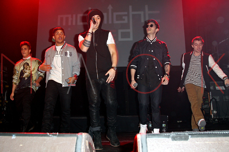 New York, NY - March 02: Thomas Augusto, Joey Diggs Jr., Eric Secharia, Anthony Ladao and Colton Rudolf at Teen Music Festival Featuring the Countries Fastest Rising Boy Band Midnight Red at the Gramercy Theatre on Saturday, March 2, 2013 in New York, NY.  (Photo by Steve Mack/S.D. Mack Pictures)