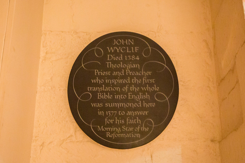 John Wycliffe Plaque at St. Paul's Cathedral Crypt