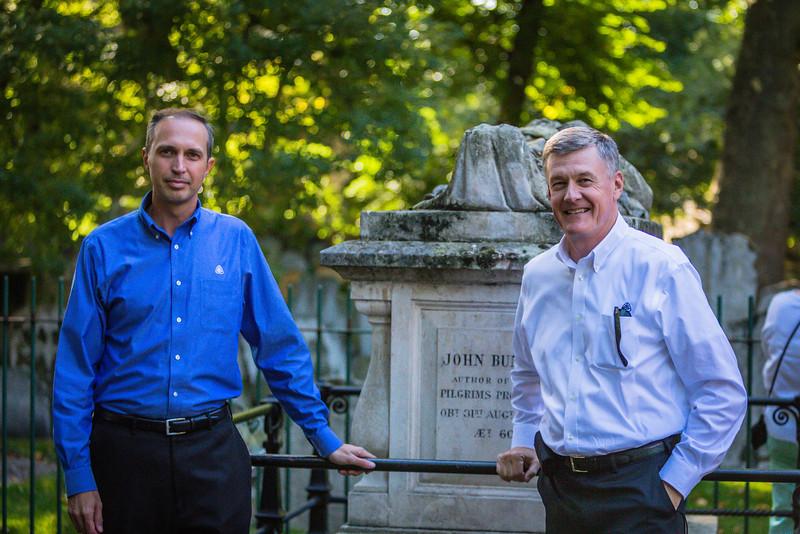 Chris Larson and Steven Lawson at John Bunyan's Grave