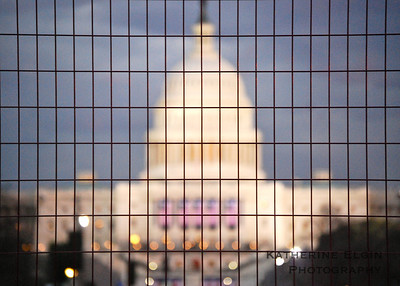 January - I caught this photo while waiting to march in the presidential Inaugural Parade. The security fences framed the Capitol perfectly.