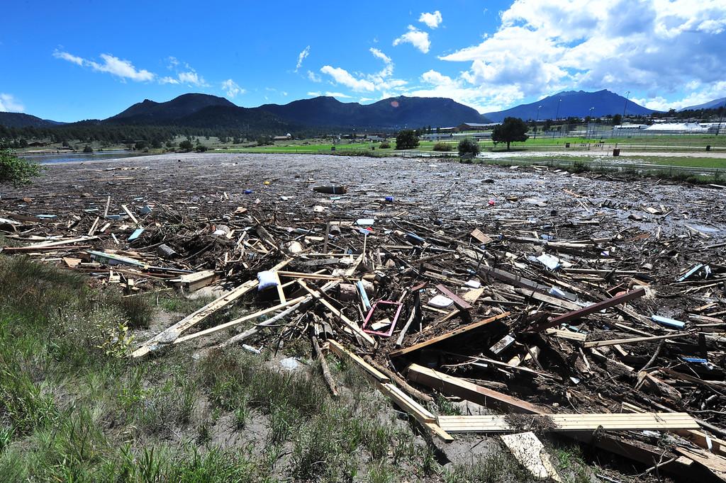 . Debris flowed into Lake Estes during the flood
