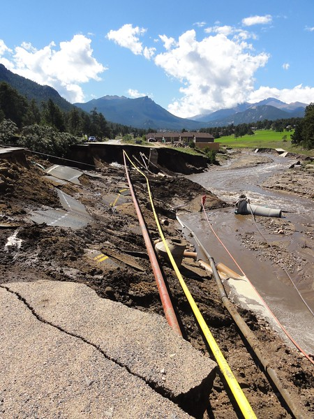 Roads were washed away by the pwerful flood waters when the Big Thompson and Fall rivers escaped their banks
