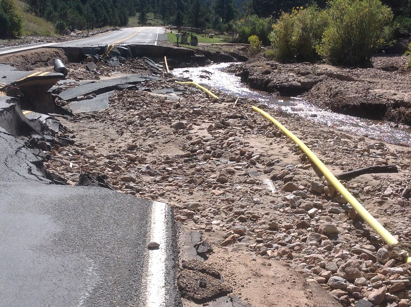 Roads, bridges and sidewalks were washed away throughout Estes Park and all along the Front Range