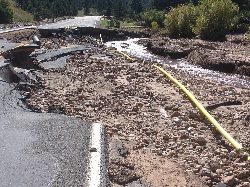 . Roads, bridges and sidewalks were washed away throughout Estes Park and all along the Front Range