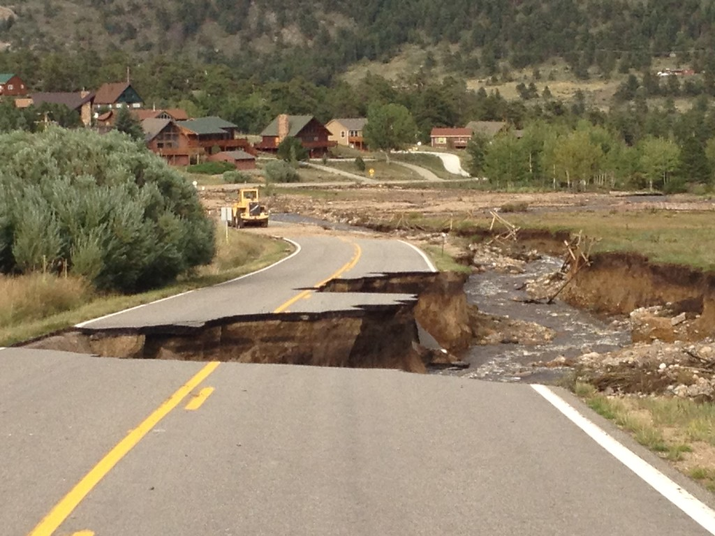 . Roads collapsed after water removed the earth under them