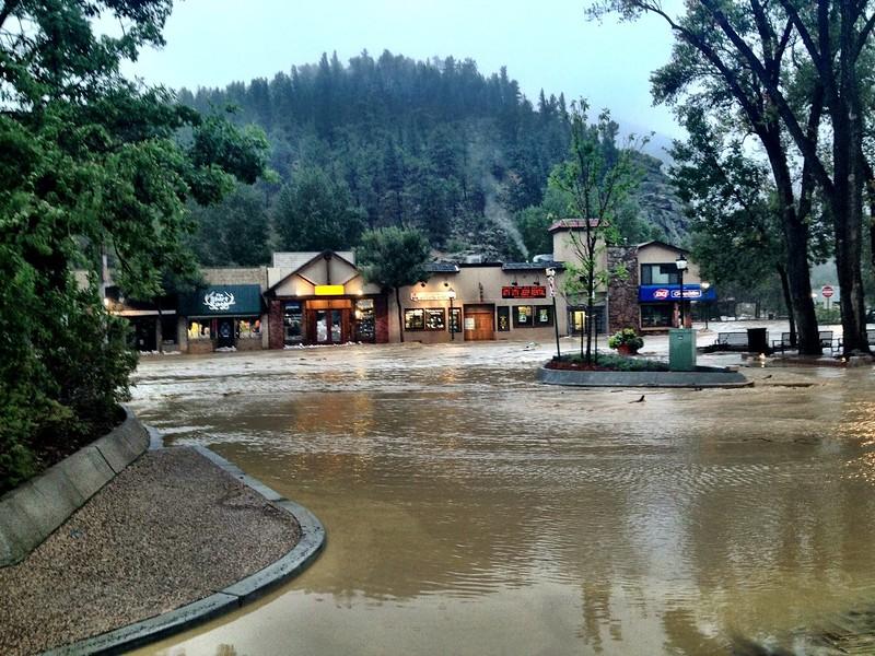 The flooding of downtown Estes Park