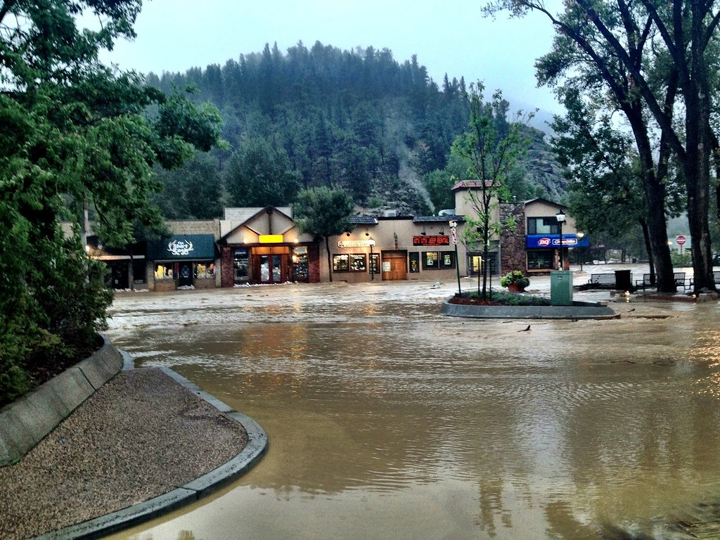 . The flooding of downtown Estes Park