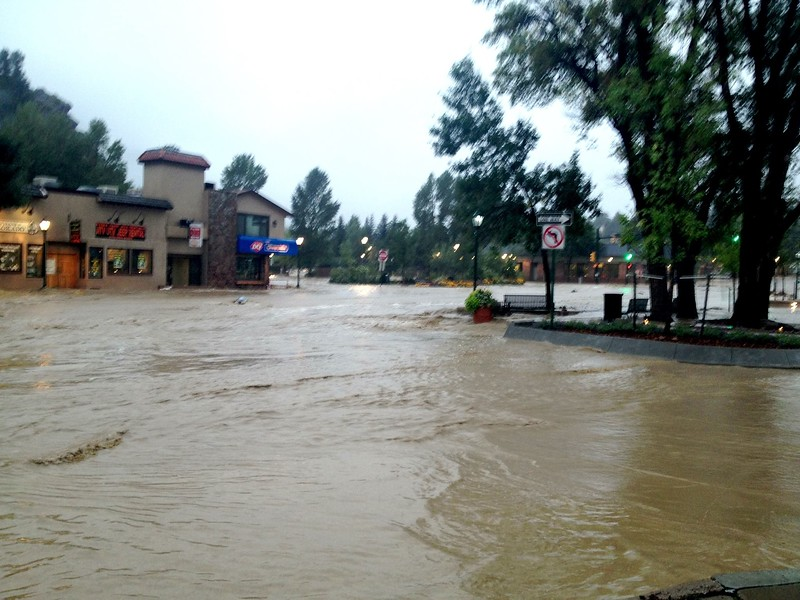 The flood waters flowed into some businesses, and missed others