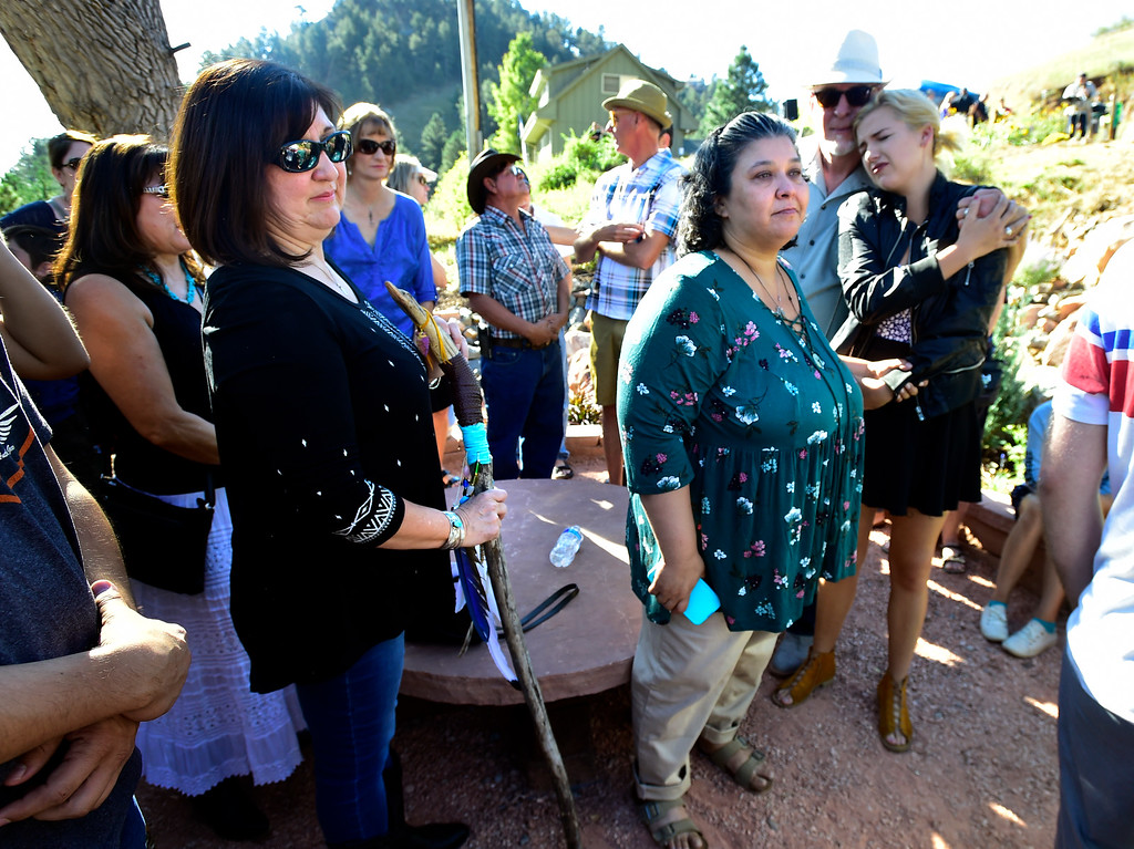 . BOULDER CO - SEPTEMBER 15 2018 Glenda Aretxuloeta, mother of Wesley Quinlan, left, and Jennifer Nelson mother of Wiyanna Nelson take in the area during the dedication of the Community Memorial Garden at the intersection of Linden Drive and South Cedar Brook Road in Boulder on Saturday in remembrance of the 2013 Colorado Front Range Flood. Wesley Quinlan and Wiyanna Nelson were driving in the area late Sept. 11, 2013 when their car was trapped in a mudslide and they left the vehicle and were swept away.  For more photos go to dailycamera.com (Photo by Paul Aiken/Staff Photographer)