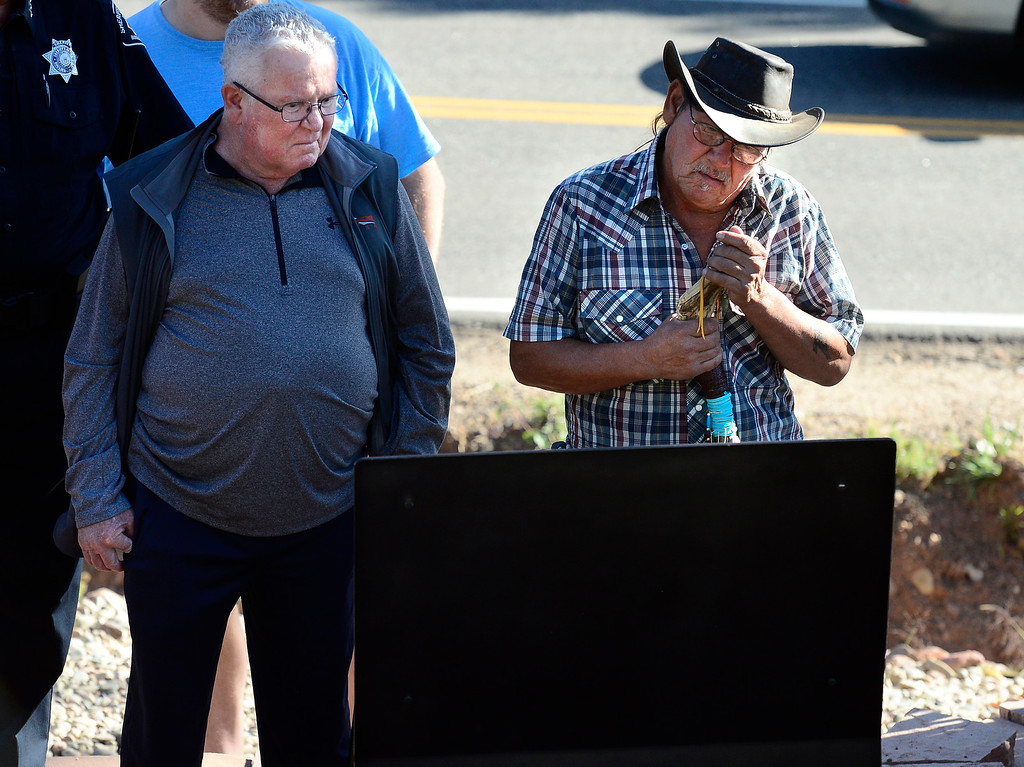 . BOULDER CO - SEPTEMBER 15 2018 Steve Behlmer, left, and Steven Gurule Wesley Quinlan\'s uncles read the plaque at the dedication to the Community Memorial Garden at the intersection of Linden Drive and South Cedar Brook Road in Boulder on Saturday in remembrance of the 2013 Colorado Front Range Flood. Wesley Quinlan and Wiyanna Nelson were killed when the car they were in was trapped in a mudslide at that location on September 11, 2013.  For more photos go to dailycamera.com (Photo by Paul Aiken/Staff Photographer)
