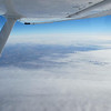 The view from 19,000 feet.  Not much to see with the cloud cover.