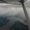 Rain on the left side of the plane.  This is Clinton Lake, just SW of Lawrence KS.