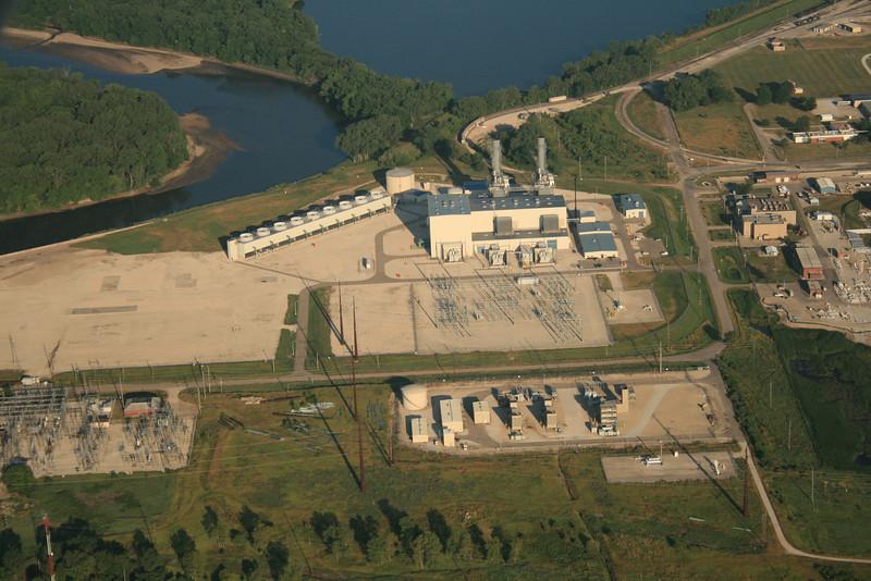 Southeast of Des Moines, Vandalia Road Power Plant and the Des Moines River, left.