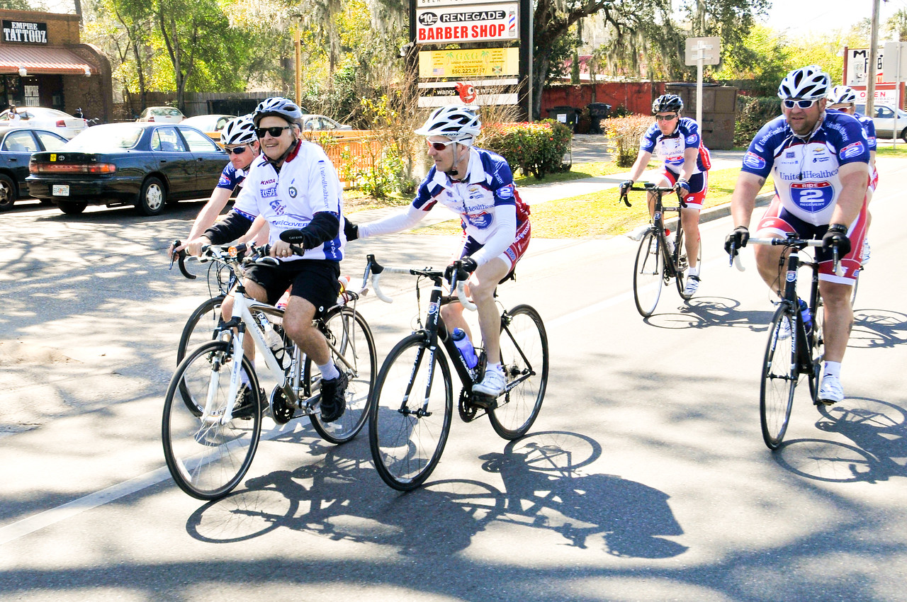 Participants ride the last 45 miles of the 2013 Ride2Recovery Gulf States Challenge from Panama City to Tallahassee, Fl. R2R, a 501(c)(3) organization, helps injured active duty service members and veterans improve their health and wellness through individual and group cycling.