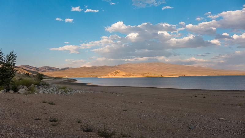 Clark Canyon reservoir at sunset, August 2013