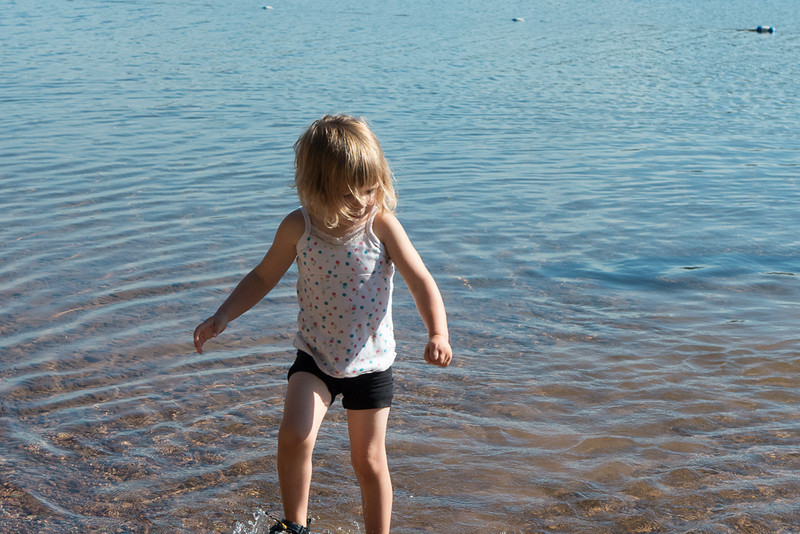 Jane's first dip into Lake Alva, in the Swan Rane of Western Montana.