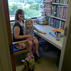 Kendra and Emma in Kendra's graduate library study office.