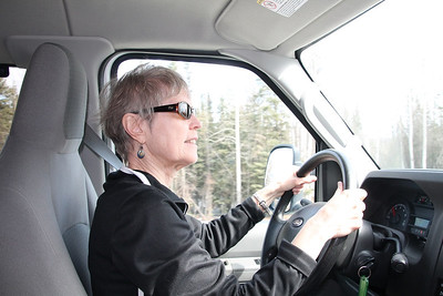 Anne Hanley behind the wheel.