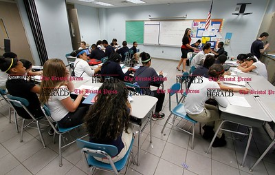 Kevin Bartram | Staff Students fill a classroom at Roosevelt Middle School in New Britain on Tuesday, June 11, 2013.