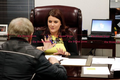 Kevin Bartram | Staff New Britain mayor Erin Stewart meets with property owner Andrew Kowalski to discuss development in the city during the first of the mayor's office hours sessions to meet with the public on Monday at New Britain City Hall.