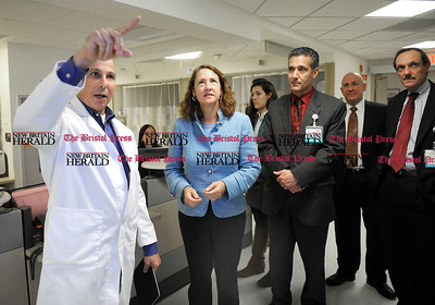 2/1/2013 Mike Orazzi | Staff Dr. Jeffrey Finkelstein Hospital of Central Connecticut give a tour of the ER to Fifth District State Representative Elizabeth Esty on Friday afternoon in New Britain.