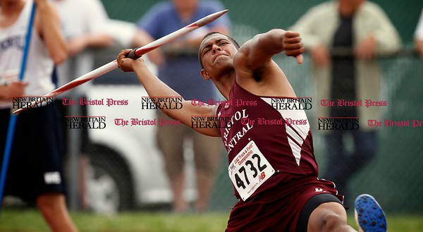 Kevin Bartram | Staff Bristol Central's Cy McIntosh throws the javelin at the CIAC Boys and Girls Open Track Championships at Willow Brook Park in New Britain on Monday.