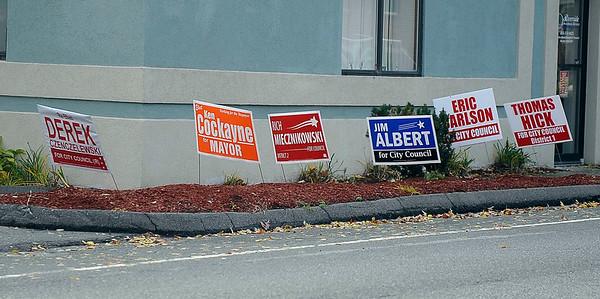 11/1/2013 Mike Orazzi | Staff Election signs off Riverside Avenue in Bristol.
