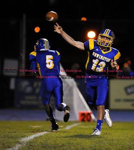 11/1/2013 Mike Orazzi | Staff  Newington High School's Jake Hedberg (12) on Friday night.
