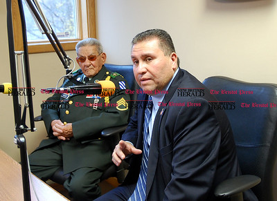 "Johnny Burnham | Staff  State Rep. Robert Sanchez, D-New Britian, talks during  ""Hablando en Serio"" on WPRX Friday in support of the  Borinqueneers earning a Congressional Gold Medal. To his left is a veteran of the 65th Infantry Division, Dolores Nieves."