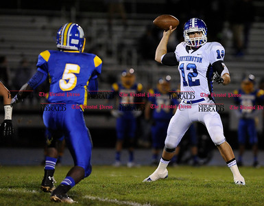 11/1/2013 Mike Orazzi | Staff  Southington High School's Stephen Barmore (12)  against Newington at Newington High School on Friday night.