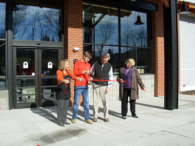 Mary Lynn, James, and Ed Kerrigan with Woodstock Chamber Executive Director Beth Finlayson 11-11-13 at opening of Jake's Quechee Market