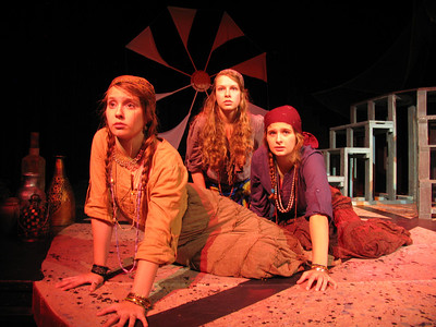 The chorus of women  from Korinth ( Kaelee Geno; Kachine Schaible, YTP Master; Helene Herrick, Senior) gradually come to respect and learn from the womanly strength of Medea but can only mourn the actions she takes