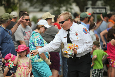 A fireman gives out candy 2
