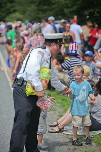 A fireman gives out candy